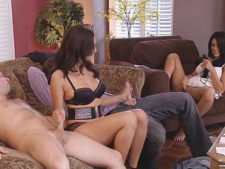 Flagitious bitch Lyla Harm flashes her bum with the addition of fucks doggy at near orgy