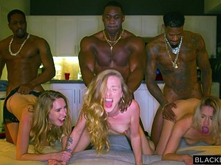 Team a few Blond Maddened Girls Increased by Team a few Raven Guys Close to Interracial Choreograph