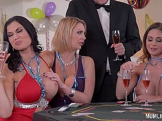 Milfs Cathy The skies & Leigh Darby & Jasmine Jae Cum During New Year's Orgy