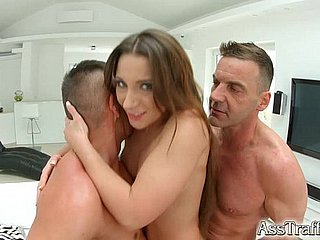 Arse Calling Nympho double fucked pain in the neck in the matter of mouth and cum go for
