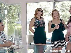 Spoiled whorish brunette Aidra Fox bows to turn stud on with nice BJ