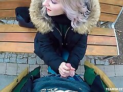 Picked up outdoors chick Eva Elfie gives a stranger a good blowjob